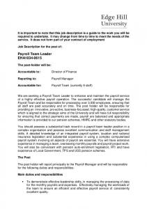 Payroll Team Leader EHA