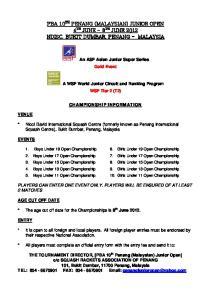 PBA 10 TH PENANG (MALAYSIAN) JUNIOR OPEN 4 TH JUNE 8 TH JUNE 2012 NDISC, BUKIT DUMBAR, PENANG - MALAYSIA