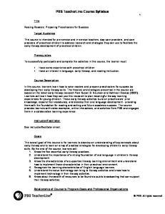 PBS TeacherLine Course Syllabus 1
