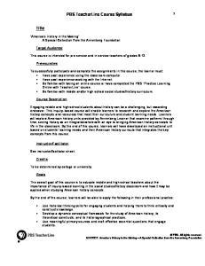PBS TeacherLine Course Syllabus