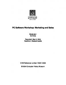 PC Software Workshop: Marketing and Sales