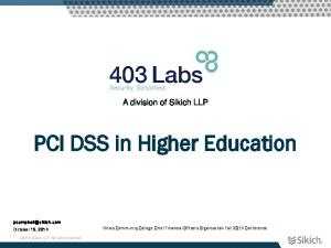 PCI DSS in Higher Education