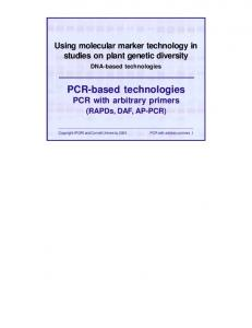 PCR-based technologies PCR with arbitrary primers