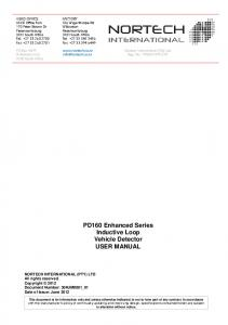 PD160 Enhanced Series Inductive Loop Vehicle Detector USER MANUAL