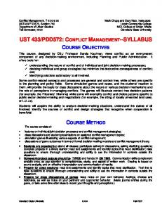 PDD572: CONFLICT MANAGEMENT--SYLLABUS COURSE OBJECTIVES COURSE METHOD