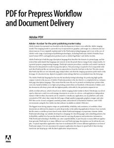 PDF for Prepress Workflow and Document Delivery
