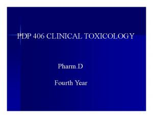 PDP 406 CLINICAL TOXICOLOGY