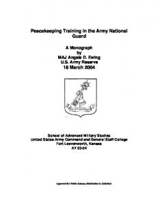 Peacekeeping Training in the Army National Guard