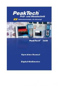 PeakTech Operation Manual. Digital-Multimeter
