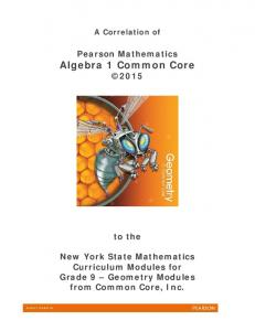 Pearson Mathematics Algebra 1 Common Core 2015