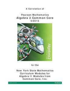 Pearson Mathematics Algebra 2 Common Core 2015