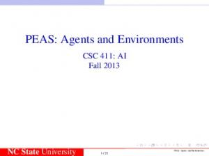 PEAS: Agents and Environments