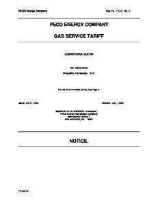 PECO ENERGY COMPANY GAS SERVICE TARIFF