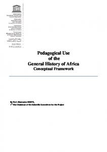 Pedagogical Use of the General History of Africa Conceptual Framework