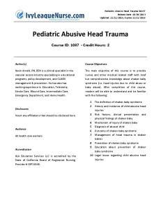 Pediatric Abusive Head Trauma