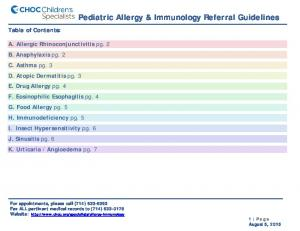 Pediatric Allergy & Immunology Referral Guidelines
