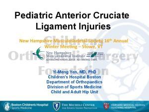 Pediatric Anterior Cruciate Ligament Injuries