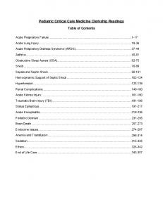 Pediatric Critical Care Medicine Clerkship Readings Table of Contents