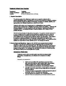 Pediatric Critical Care Rotation