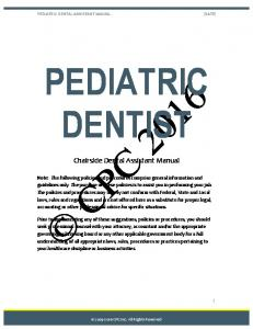 PEDIATRIC DENTIST. Chairside Dental Assistant Manual