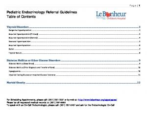 Pediatric Endocrinology Referral Guidelines Table of Contents
