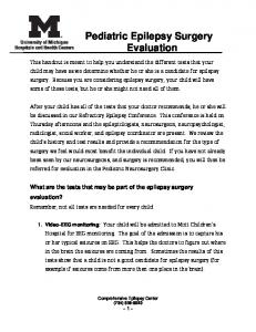 Pediatric Epilepsy Surgery Evaluation