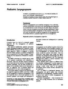 Pediatric laryngospasm