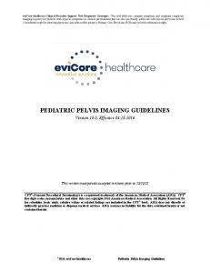 PEDIATRIC PELVIS IMAGING GUIDELINES