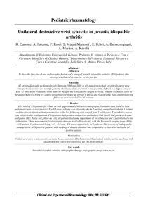 Pediatric rheumatology. Unilateral destructive wrist synovitis in juvenile idiopathic arthritis
