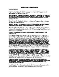 Pediatrics Institute 2008 Publications