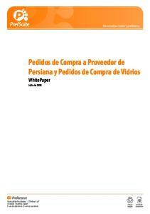 Pedidos de Compra a Proveedor de Persiana y Pedidos de Compra de Vidrios WhitePaper Julio de 2008