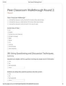Peer Classroom Walkthrough Round 2