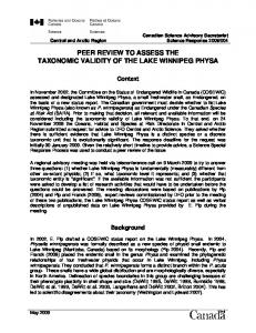 PEER REVIEW TO ASSESS THE TAXONOMIC VALIDITY OF THE LAKE WINNIPEG PHYSA