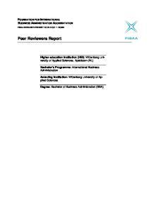 Peer Reviewers Report