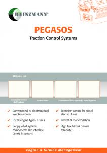 PEGASOS. Traction Control Systems. Conventional or electronic fuel injection control. Excitation control for diesel electric drives