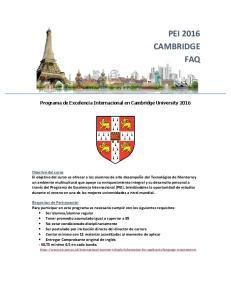 PEI 2016 CAMBRIDGE FAQ