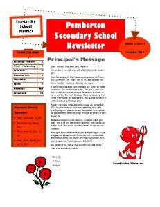 Pemberton Secondary School Newsletter