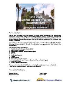 Penn State Summer Abroad Program Maastricht 2008