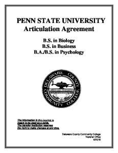 PENN STATE UNIVERSITY Articulation Agreement