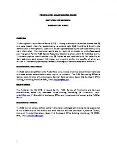 PENNSYLVANIA LIQUOR CONTROL BOARD INVITATION FOR BID BANK DEPOSIT TICKETS