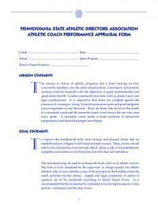 PENNSYLVANIA STATE ATHLETIC DIRECTORS ASSOCIATION ATHLETIC COACH PERFORMANCE APPRAISAL FORM