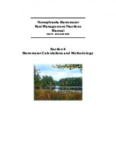 Pennsylvania Stormwater Best Management Practices Manual DRAFT - JANUARY Section 9 Stormwater Calculations and Methodology