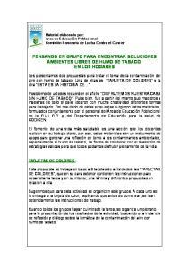 PENSANDO EN GRUPO PARA ENCONTRAR SOLUCIONES AMBIENTES LIBRES DE HUMO DE TABACO EN LOS HOGARES
