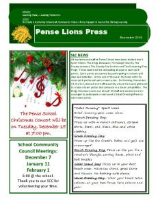 Pense Lions Press. The Pense School Christmas Concert will be on Tuesday, December 15 at 7:00 pm