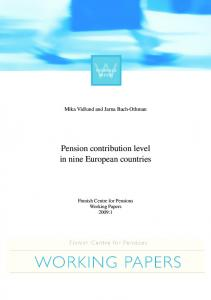 Pension contribution level in nine European countries