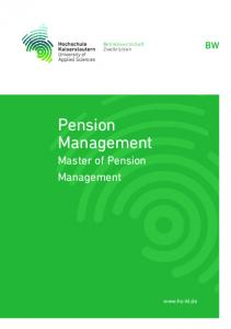Pension Management Master of Pension Management
