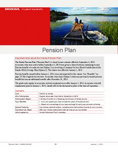 Pension Plan. Important Note about the Honda Pension Plan