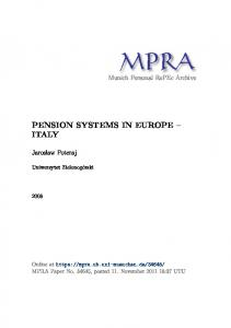 PENSION SYSTEMS IN EUROPE ITALY