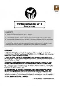 Pentecost Sunday 2013 Resources