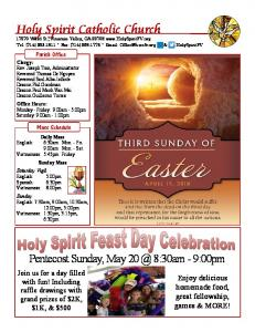 Pentecost Sunday, May 8:30am - 9:00pm. Enjoy delicious homemade food, great fellowship, games & MORE!